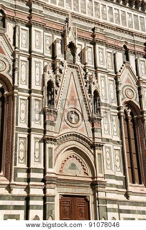 Florence Cathedral of Santa Maria del Fiore or Duomo di Firenze in Gothic style detail of the southern entrance. Florence Tuscany Italy.