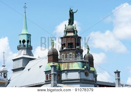 Rear view of Notre Dame de Bonsecours Chapel (Our Lady of Good Help) in Montreal Quebec Canada.