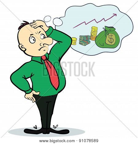 Man dreaming about money. Concept cartoon character. Vector
