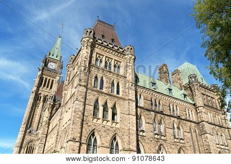 Parliament of Canada on Parliament Hill in neo gothic style with its Tower of Victory and Peace better known as Peace Tower. Ottawa Ontario Canada