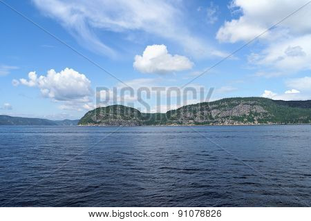 Saint Lawrence River near Tadoussac on a summer cloudy day in Quebec Canada