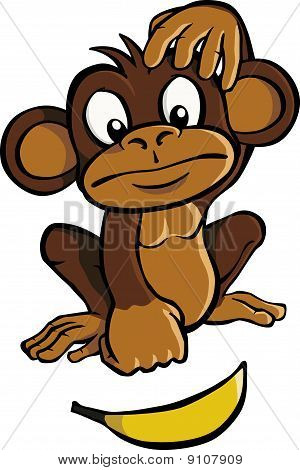 A cartoon monkey looking at a banana and scratching his head. poster