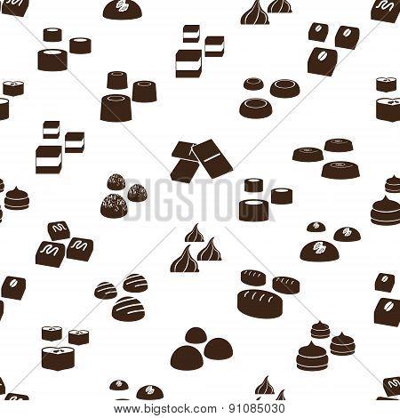 Sweet Chocolate Truffles Icons Seamless Pattern Eps10