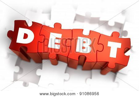 Debt - White Word on Red Puzzles.