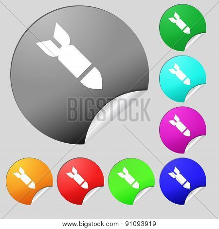 Missile,rocket Weapon  Icon Sign. Set Of Eight Multi-colored Round Buttons, Stickers. Vector