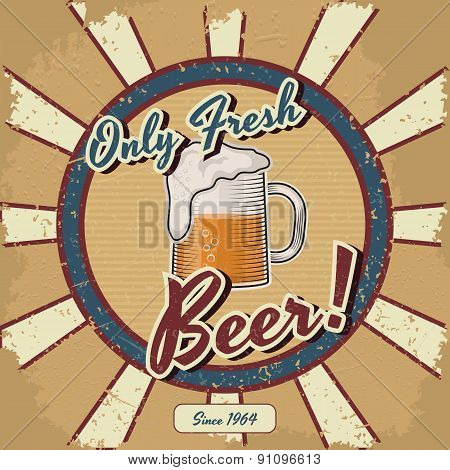 Retro beer vector poster. Vintage poster template for fresh beer. Retro label  or banner design. Vec