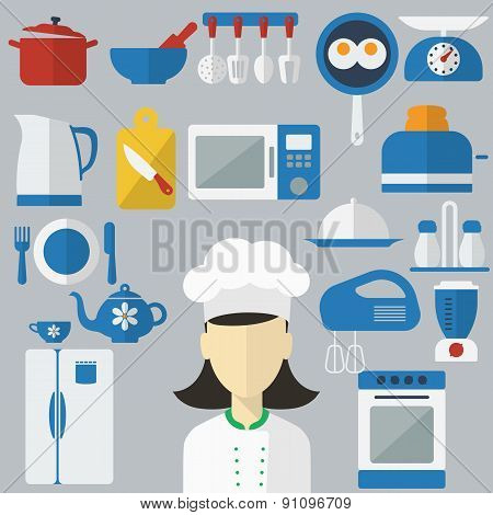 Flat design concept icons of kitchen utensils with a chef on banners. Cooking tools and kitchenware