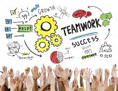 Teamwork Team Together Collaboration Hands Volunteer Unity Concept poster