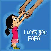 Cute little girl holding his father hand, showing love towards her father and stylish text I Love You Papa, Happy fathers day celebrations concept.  poster