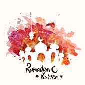 Beautiful mosque, made by colors splash for Islamic holy month of prayers, Ramadan Kareem celebrations.  poster