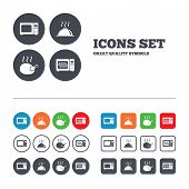 Microwave grill oven icons. Cooking chicken signs. Food platter serving symbol. Web buttons set. Circles and squares templates. Vector poster