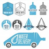 Water delivery set of badges, labels and design elements. poster