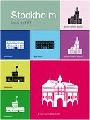 Landmarks of Stockholm. Set of color icons in Metro style. Raster illustration. poster