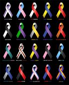 Coloured Ribbons supporting causes and victims of illness and tragedy poster