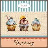 Confectionery advertisement template with watercolor cupcakes illustration and typographic in retro style poster