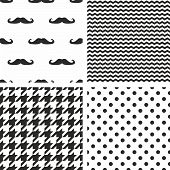 Tile vector black and white pattern set with polka dots, mustache, zig zag and houndstooth for seamless decoration wallpaper poster