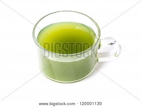 natural herbs Chlorophyll drinking in a glass mug isolated on white background