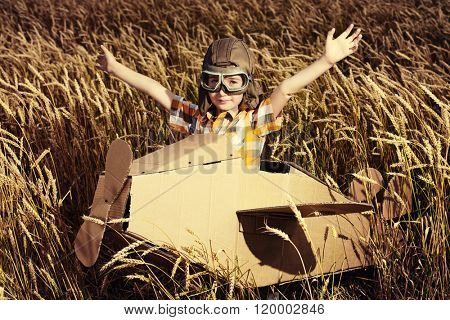 Brave dreamer boy playing with a cardboard airplane in the wheat field. Childhood. Fantasy, imagination. Retro style.