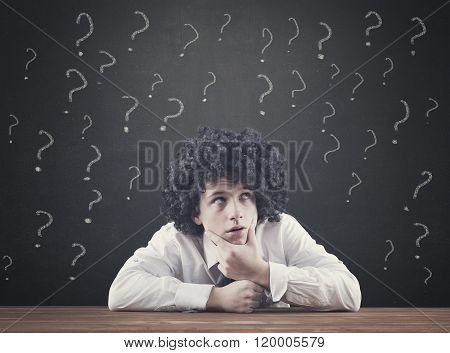 Teenager With Many Question Mark
