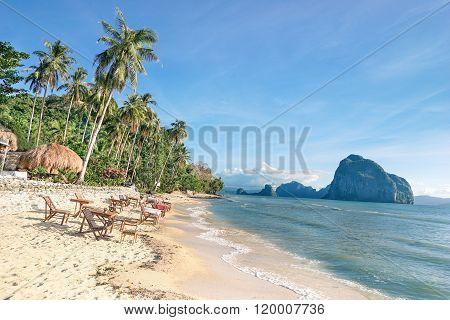 Bar View In Las Cabanas Beach El Nido - Beautiful Tropical Destination In Palawan Philippines