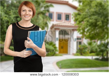 Real Estate Agent Real Estate House Real People Candid Residential Structure Women poster