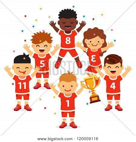 Children sports team wins a golden cup