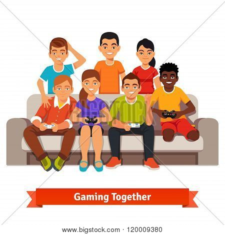 Group of teen friends having a video games party