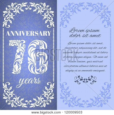 Luxury Template With Floral Frame And A Decorative Pattern For The 76 Years Anniversary. There Is A