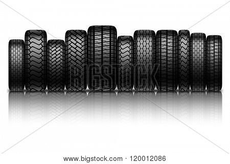 Car tires isolated on white background. illustration.