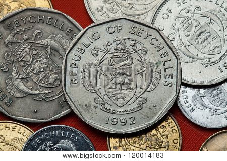 Coins of the Seychelles. Coat of arms of the Seychelles depicted in the Seychellois rupee coins.