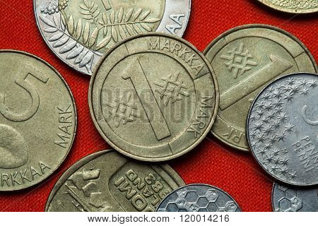 Coins of Finland. Finnish one markka coin (1993). poster