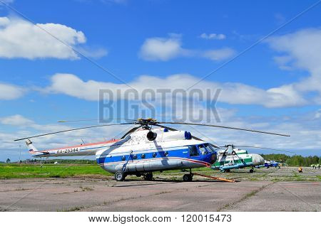 The Mil Mi-8 Helicopters  At The Parking  In Pulkovo Airport In Saint-petersburg, Russia