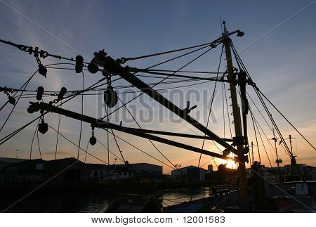 Silhouette of Trawler Net Lifting Gear