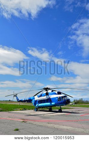 The Mil Mi-8 T  Helicopter Of Gazpromavia Aviation Company In Pulkovo Airport In Saint-petersburg