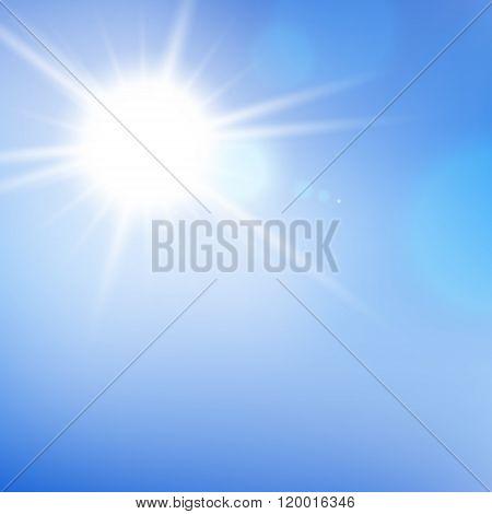 Sunshine. Sunlight. Sun With Lens Flare. Realistic Sun. Vector Background.