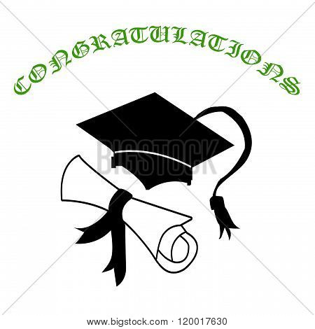 Graduation Cap And Certificate With Congratulations