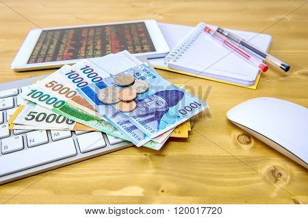 South Korean Won Currency And Finance Business. Business Concept.