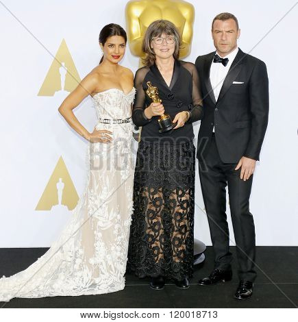 Liev Schreiber, Margaret Sixel and Priyanka Chopra at the 88th Annual Academy Awards - Press Room held at the Loews Hollywood Hotel in Hollywood, USA on February 28, 2016.