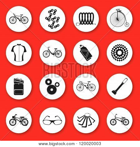 Set of  silhouette icons. Six kinds of bicycles: mountain (or cross-country) bike, road bike, city b