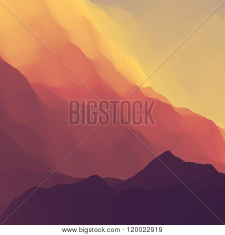 Mountain Landscape. Mountainous Terrain. Mountain Design. Vector Silhouettes Of Mountains Backgrounds. Sunset. Can Be Used For Banner, Flyer, Book Cover, Poster, Web Banners.