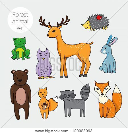 Set Of Different Forest Animals In Cartoon Styl