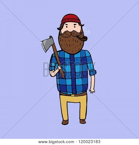 Cute Bearded Lumberjack With An Axe
