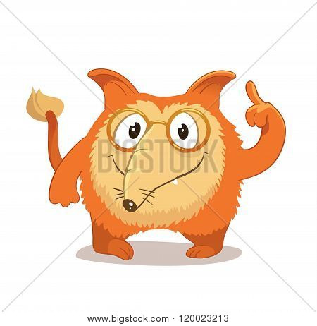 Fantasy, round and smart character with cute protruding ears and a long nose, reminiscent of a red f