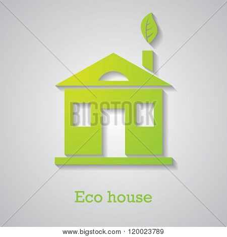 Icon Of Paper Eco House With A Shadow
