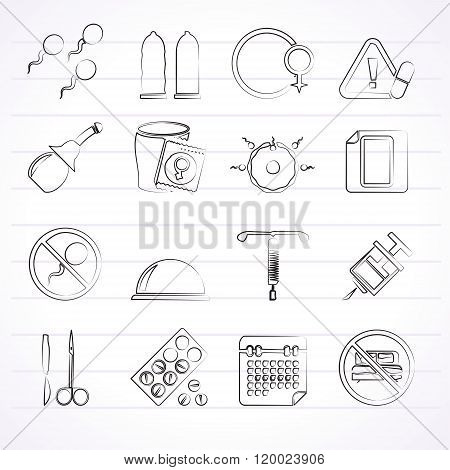 Pregnancy and contraception Icons