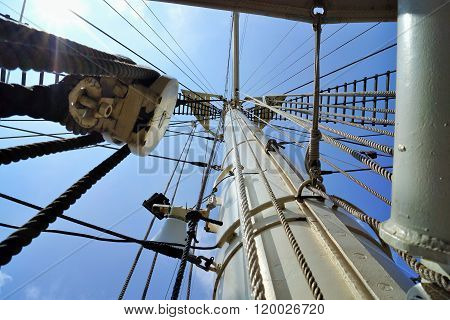 Mainmast of a sailing ship under blue sky poster