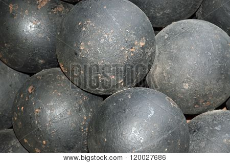 Old cannon balls from the 1800s