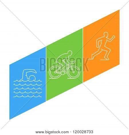Vector Line Illustration Triathlon And Figures Triathletes.