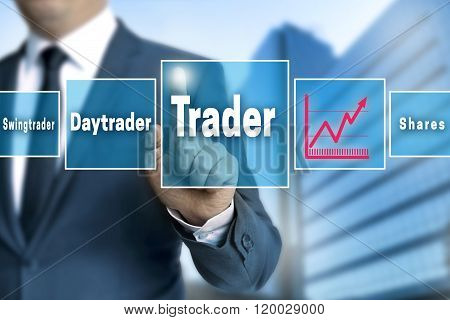 trader touchscreen is operated by businessman background poster