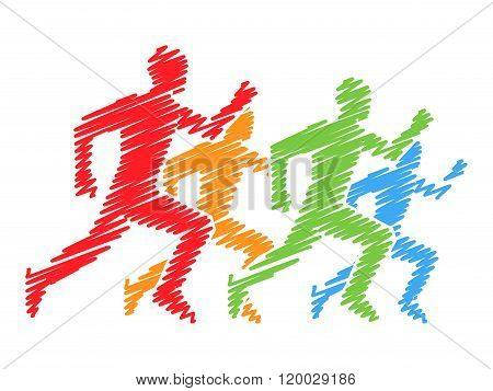 Colored Silhouettes Of Runners. Vector Running And Marathon Logo